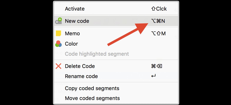 Shortcuts in the MAXQDA Context Menu
