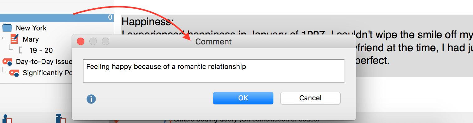 Create a comment for a retrieved segment in MAXQDA
