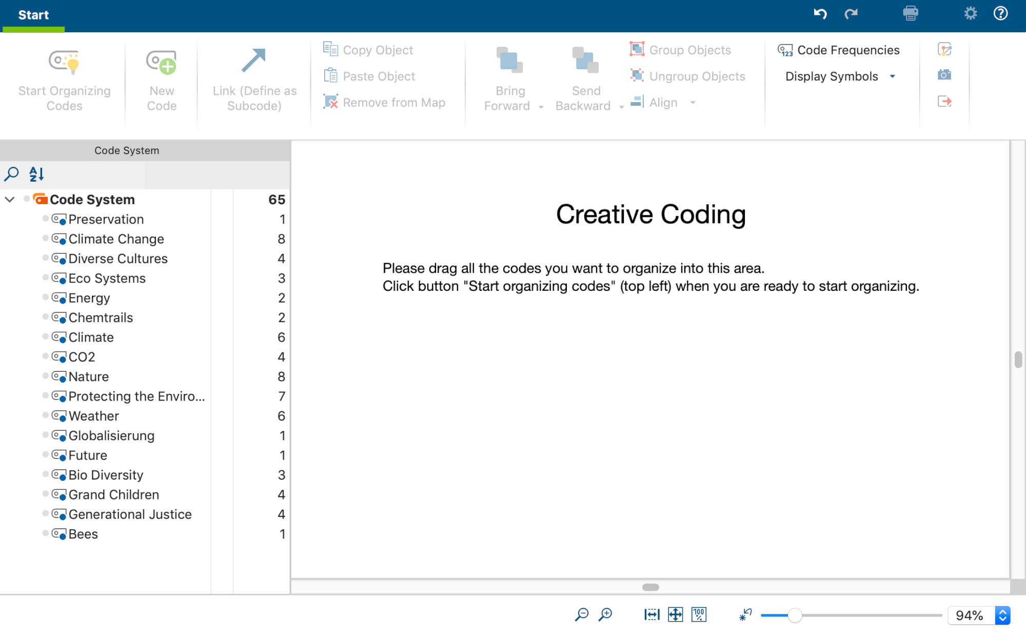 Selecting Codes for Creative Coding