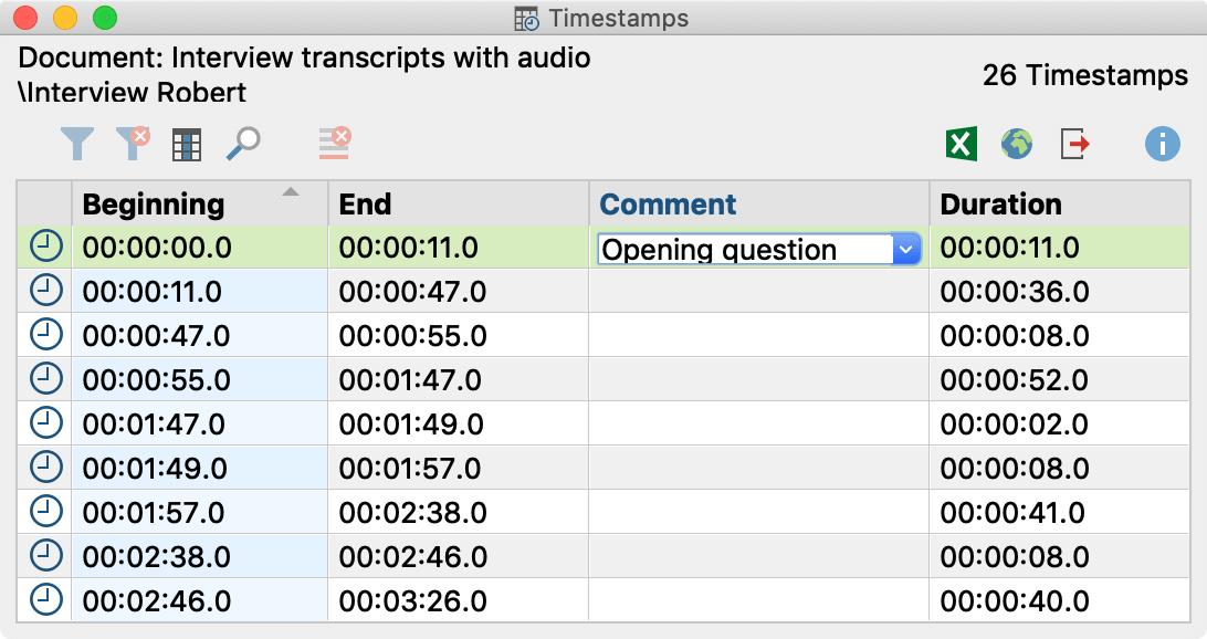 The Overview of Timestamps lists all the timestamps in the transcript