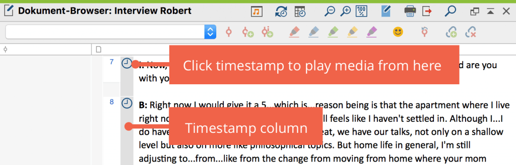 Timestamps in the document browser