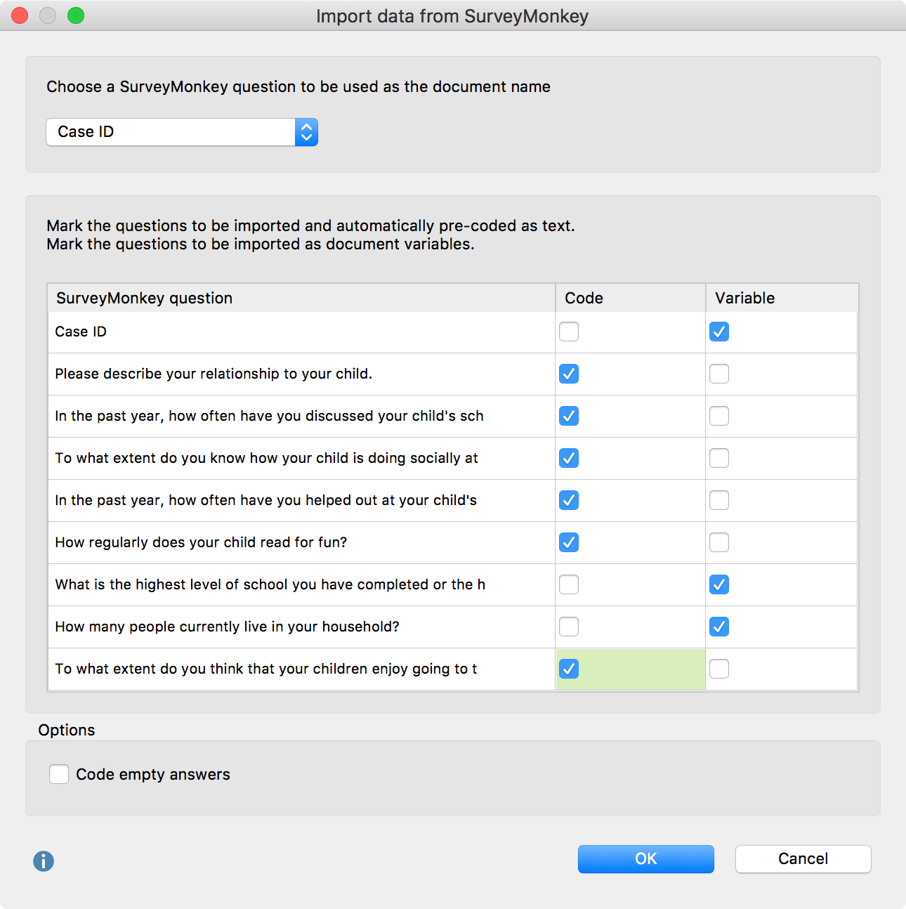 Import surveys into MAXQDA