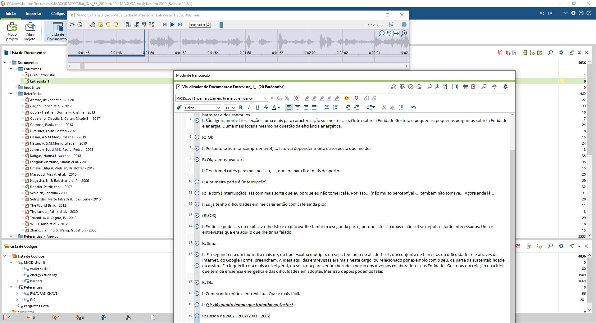Screenshot of MAXQDA2020 in transcription mode (version in Portuguese).