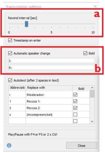 Screenshot from MAXQDA2020 showing transcription settings.