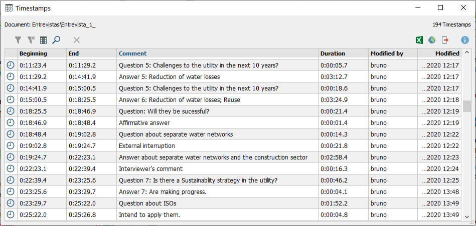 Screenshot from MAXQDA2020 showing an overview of timestamps.