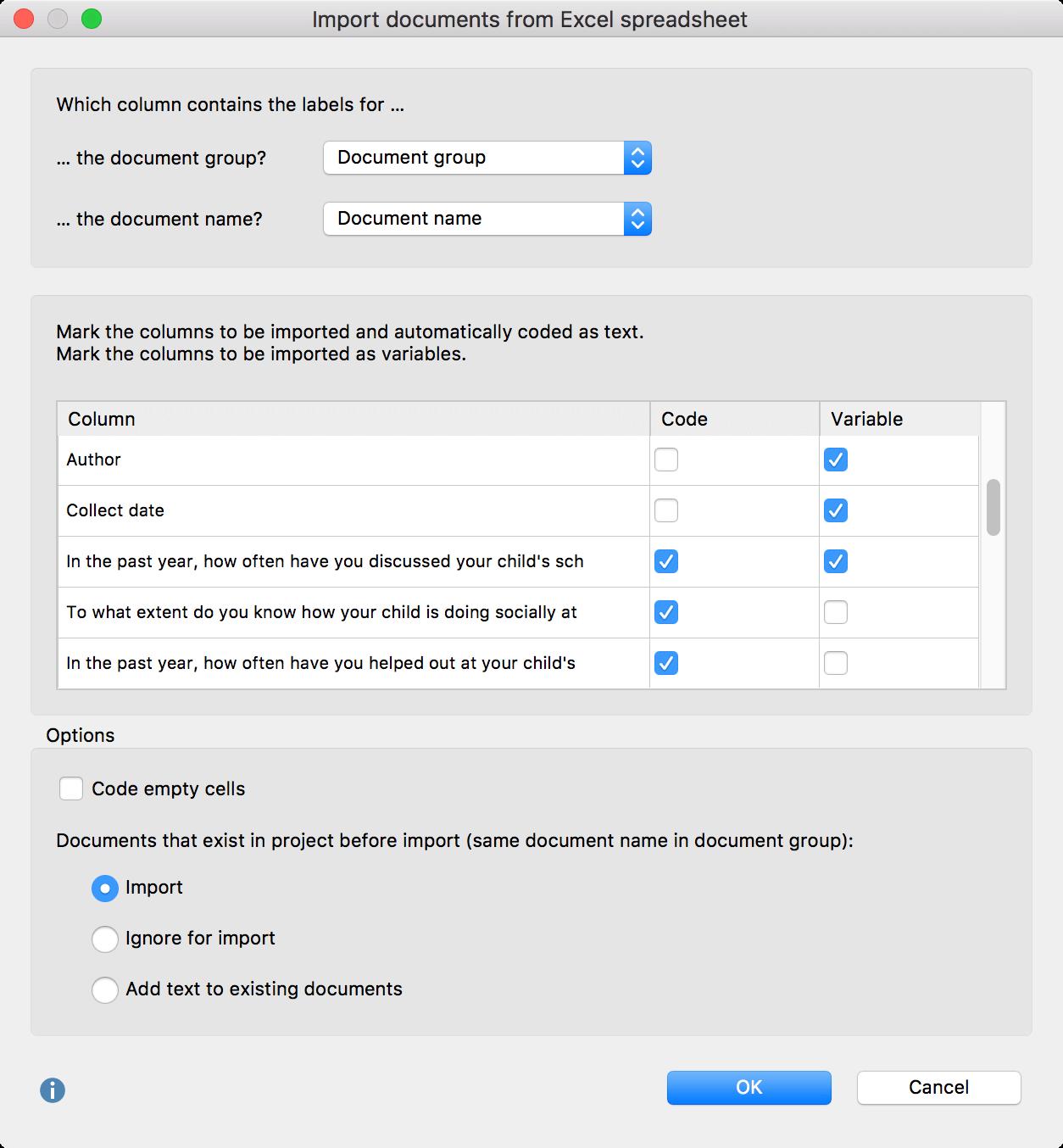Excel Import into MAXQDA