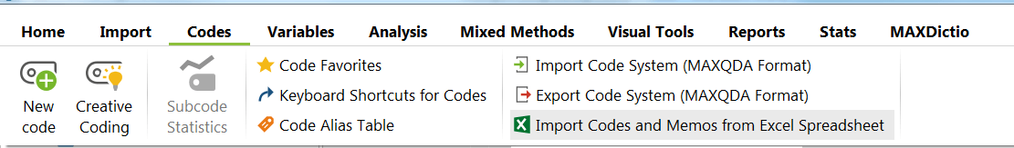 Importing Codes from Excel into MAXQDA