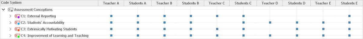 Perspectives on Mathematics Assessment: MAXQDA's Code Matrix Browser