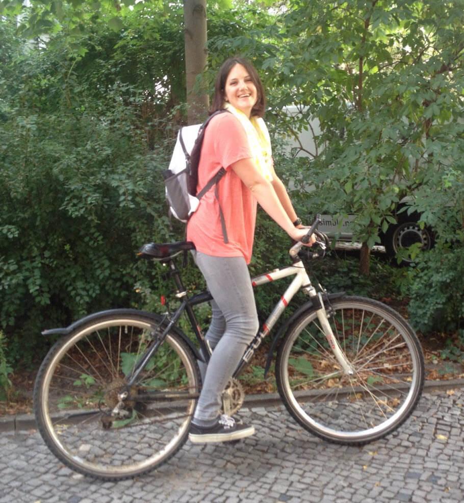 Nora on her bike