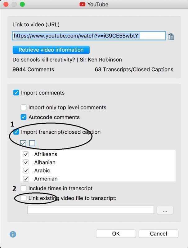 Import YouTube Transcript into MAXQDA 2018