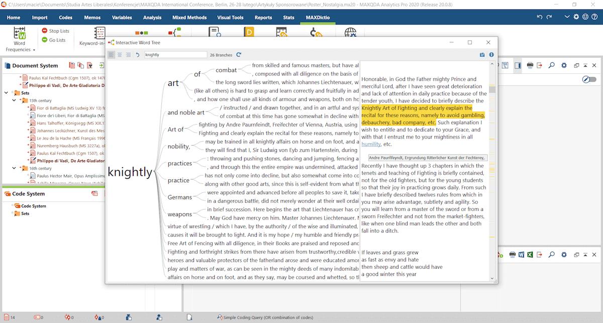 Using Interactive Word Tree function (MAXDictio)