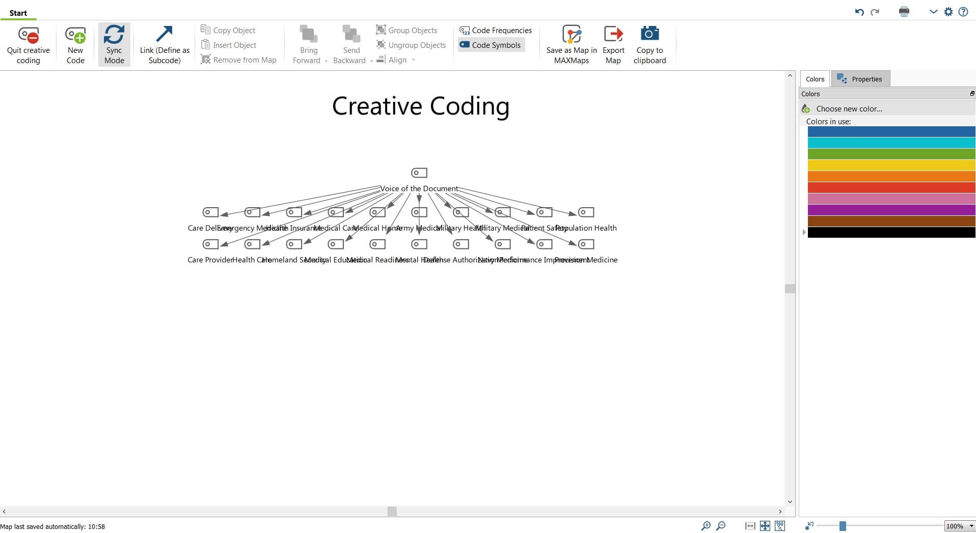 MAXQDA Creative Coding Acitivity Window