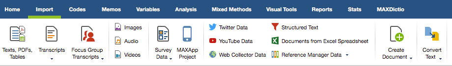 Document analysis: Figure 1: Import the data you have chosen or selected