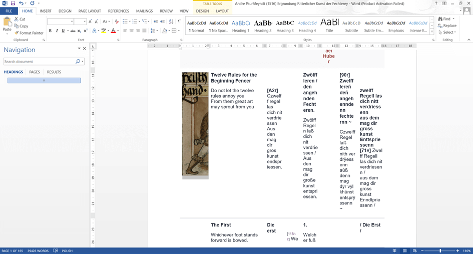 Corpus-based linguistic research: Screenshot from MS Word showing a messy table downloaded from an online repository.