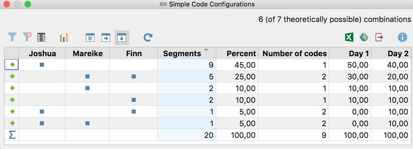Simple Code Configuration: Results table when choosing segments as your unit