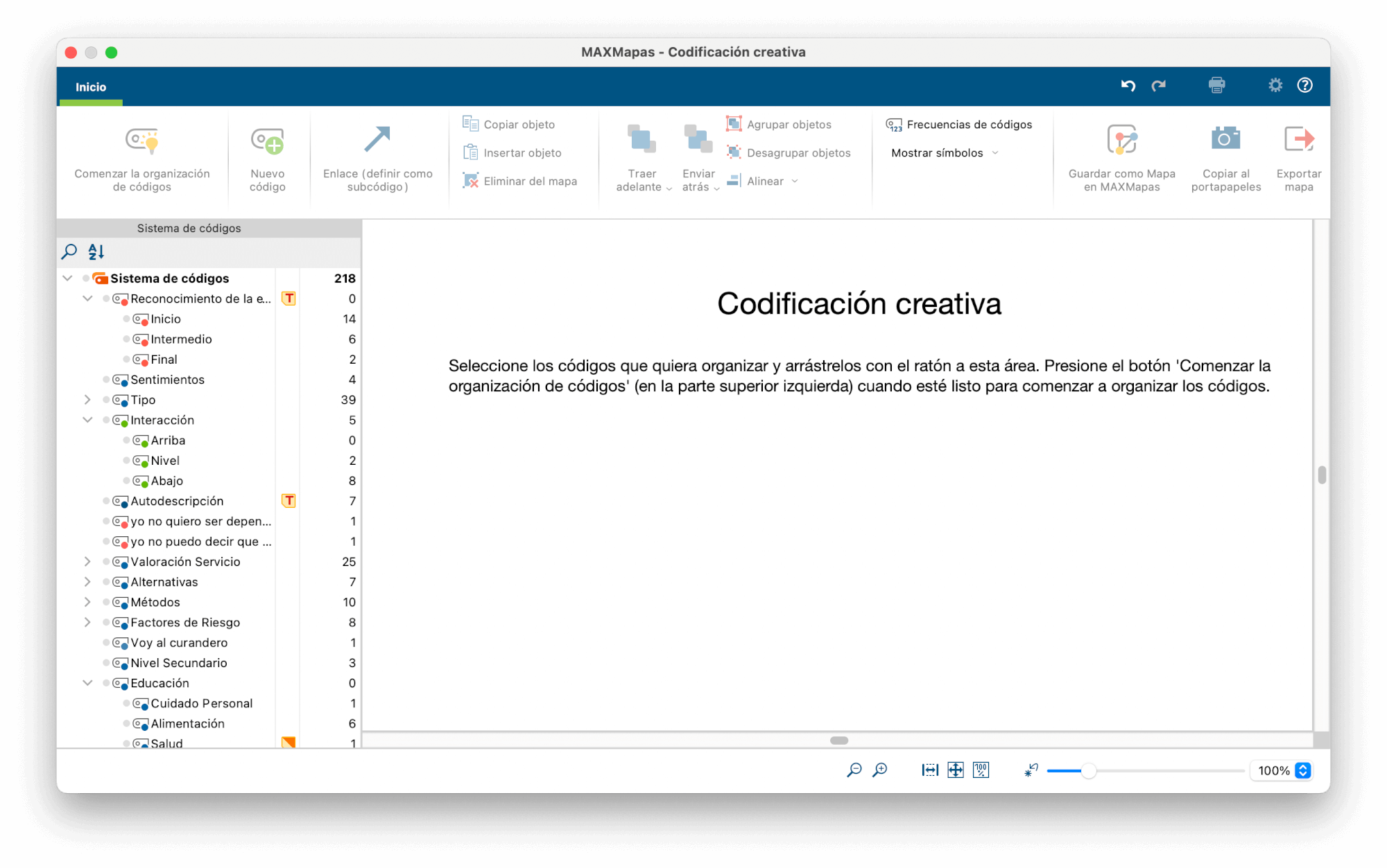 Selección de códigos para la Codificación Creativa