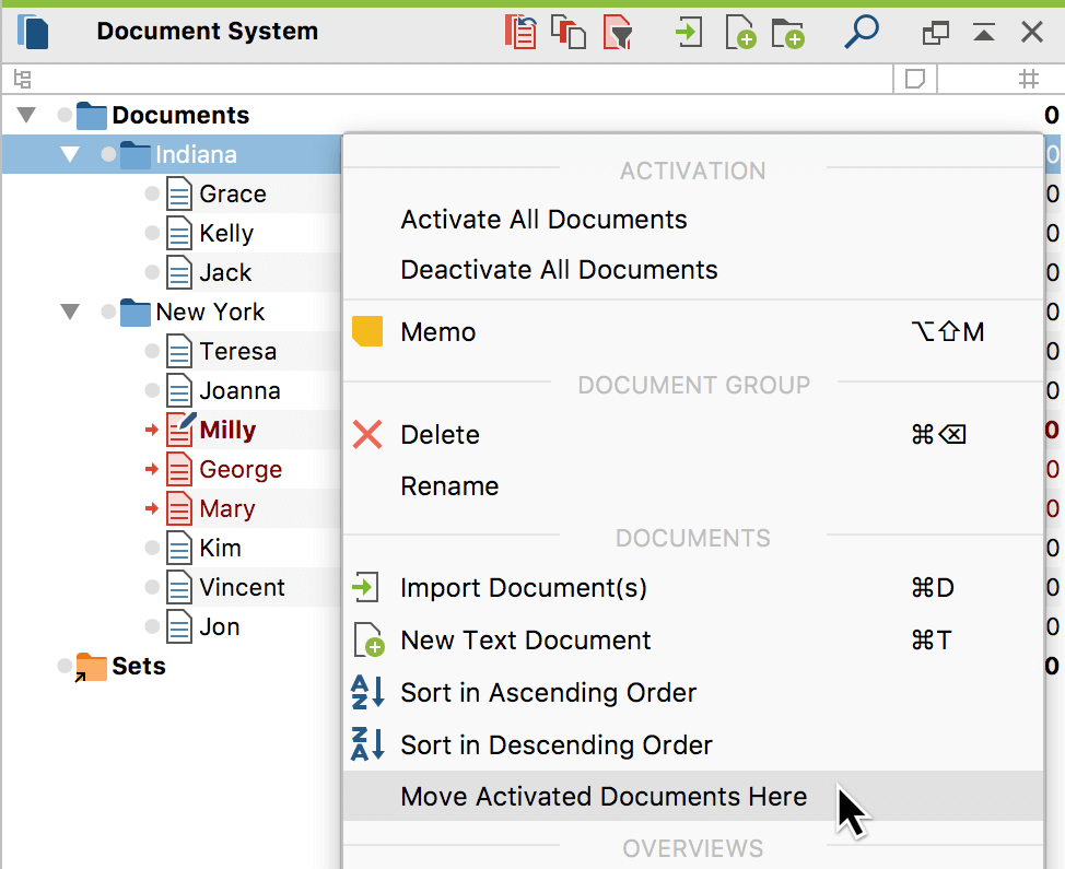 Move all activated documents to a document group at once