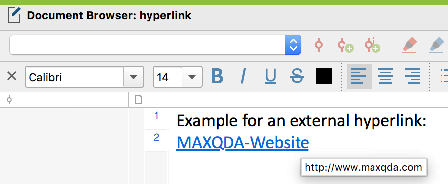 Hyperlink in a text