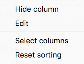 Context menu of a column header