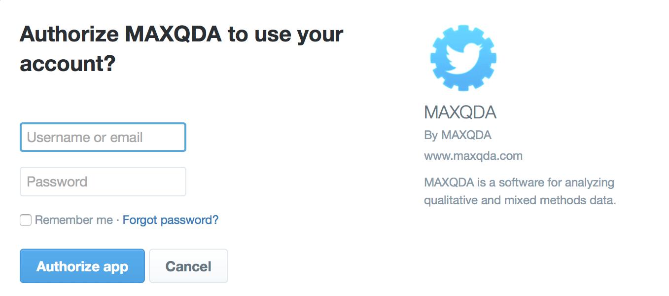 MAXQDA für Twitter autorisieren