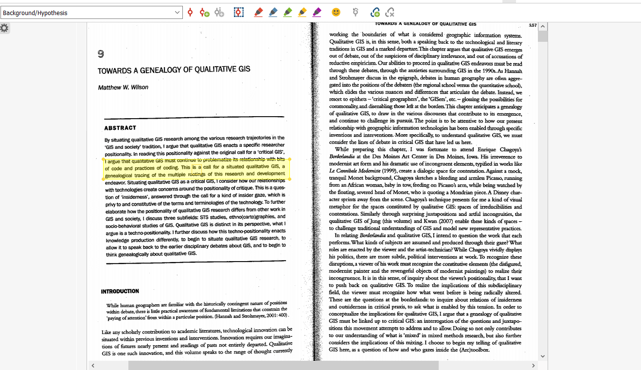 Writing Myself Out of the Quarantine Slump- Imported PDF- Towards a Genealogy of Qualitative GIS- displayed in MAXQDA.