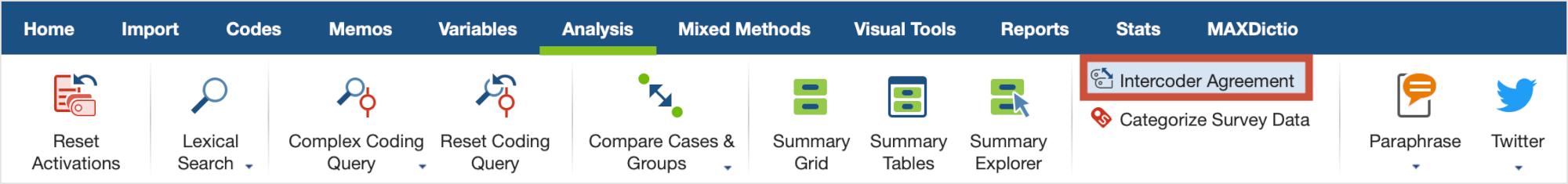 Starting the Intercoder Agreement function via the Analysis menu