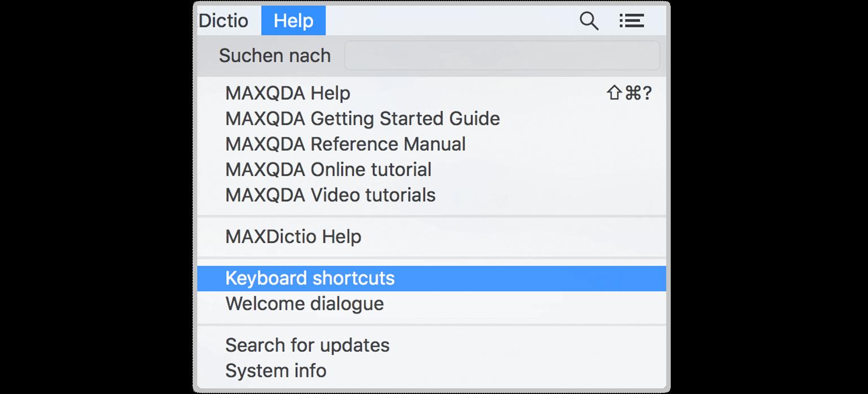 Keyboard Shortcuts in MAXQDA