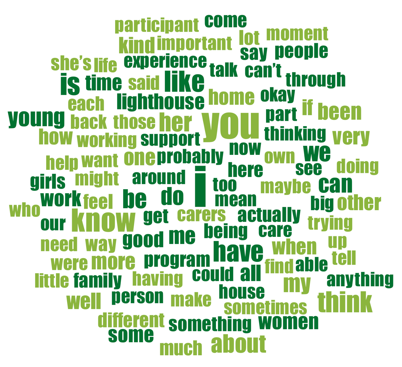 Word cloud from interview transcripts