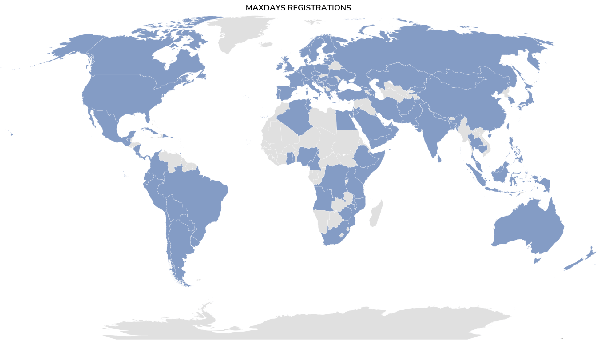 A map of worldwide registrations for MAXDAYS.