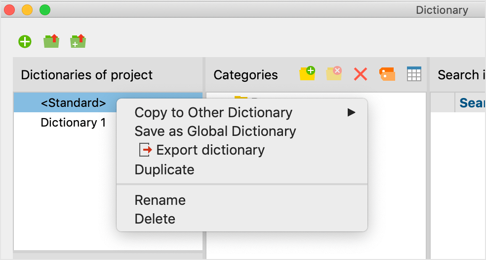 Functions for dictionaries in the context menu