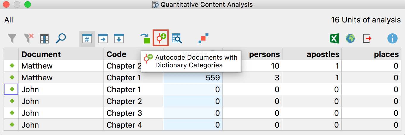 Symbol to autocode the search terms of individual categories with the category names