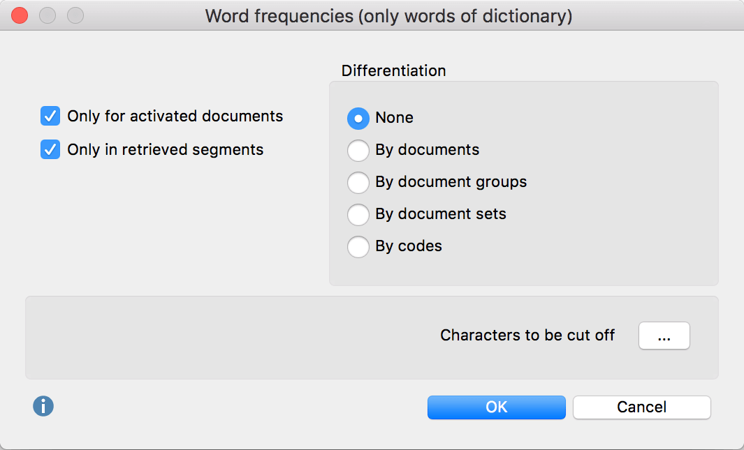 "Option dialog ""Word frequencies – Count only dictionary words"""