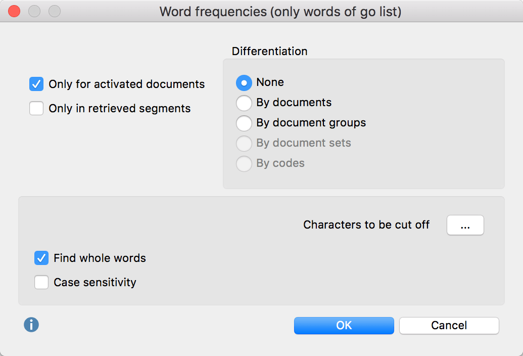 Options dialog for Word frequencies (only words of go list) function