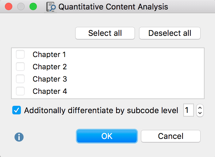 Select codes to subdivide a text into more units of analysis
