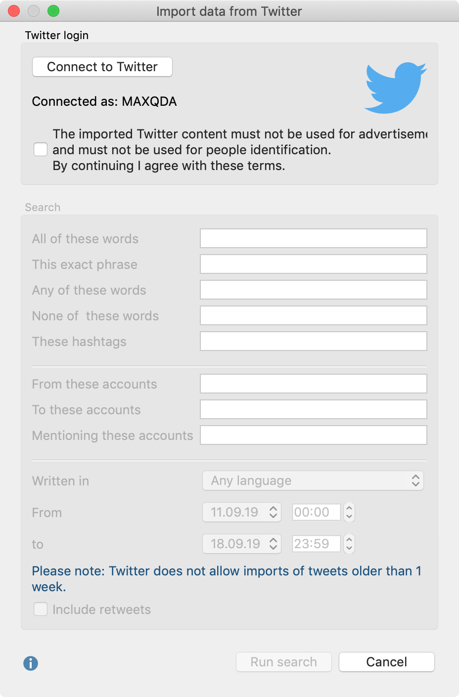 Dialog window for importing data from Twitter