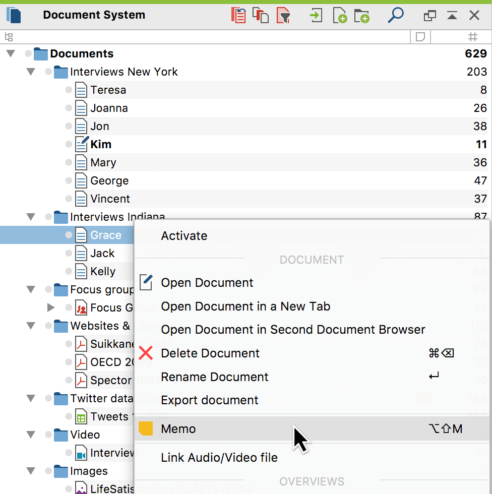 Creating a memo for a document from the context menu
