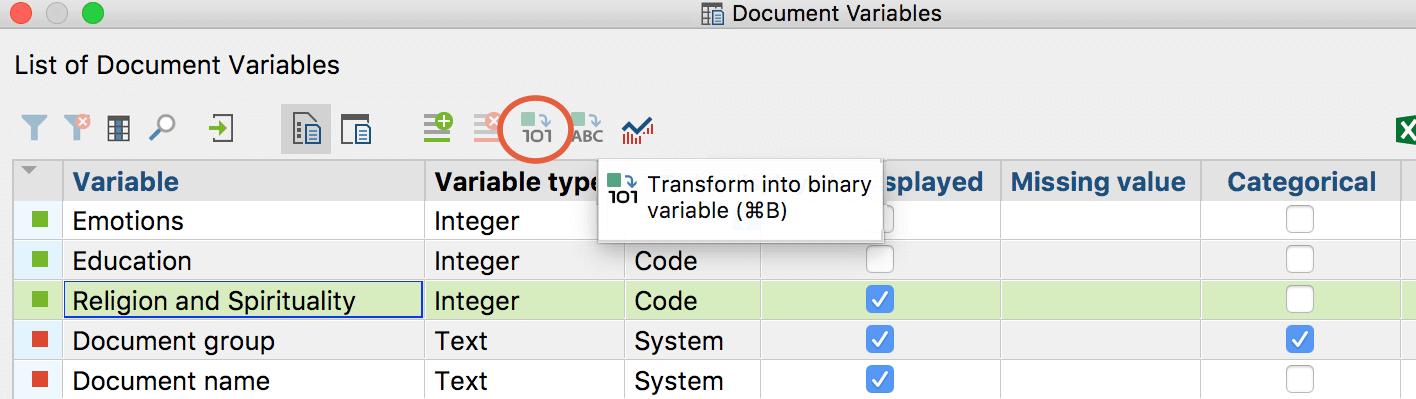 Transform into binary variable