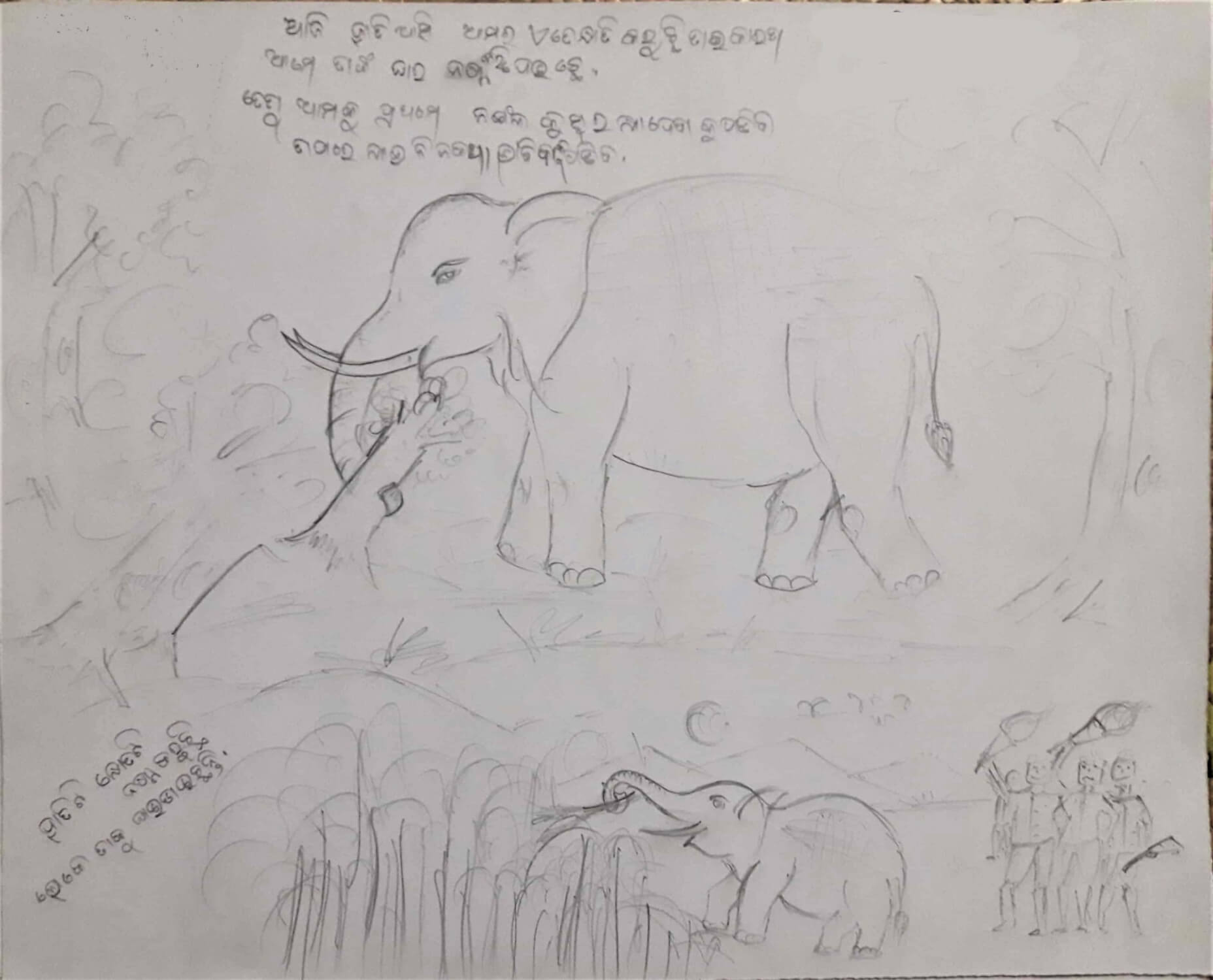 Figure 1: A drawing by a male student depicting various images of elephants that he has witnessed in his village.