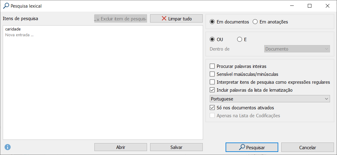 Lexical search window