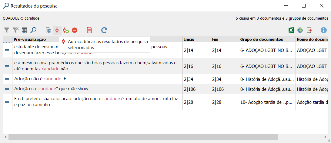 Lexical Search results with lemma list on