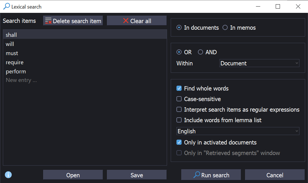 Screenshot from MAXQDA2020 showing the Lexical Search panel, with imperative words set as search criteria.