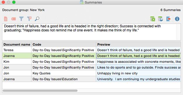 Overview of summaries