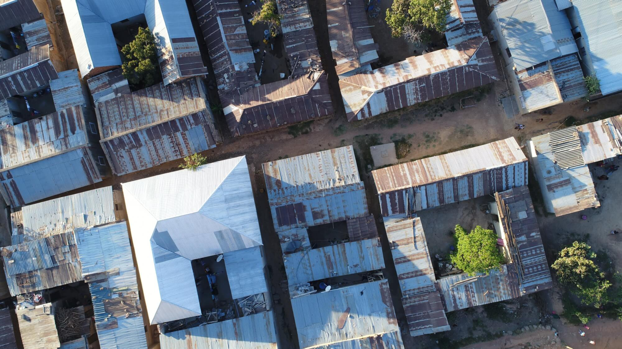 A photo of an informal settlement in Tanzania, taken by drone.