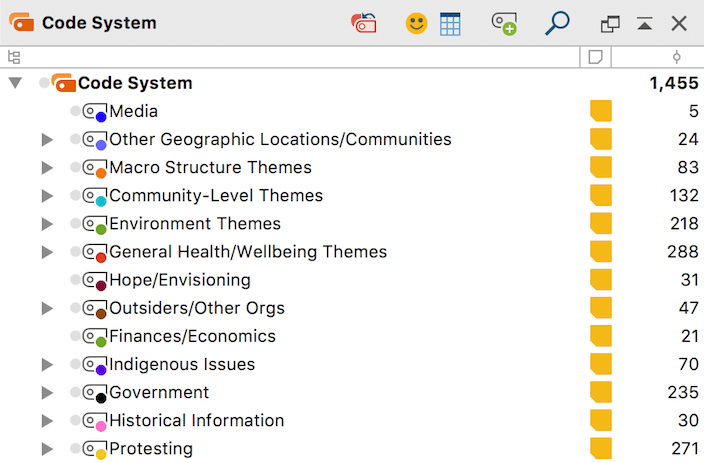 """Code System"" window with general themes"