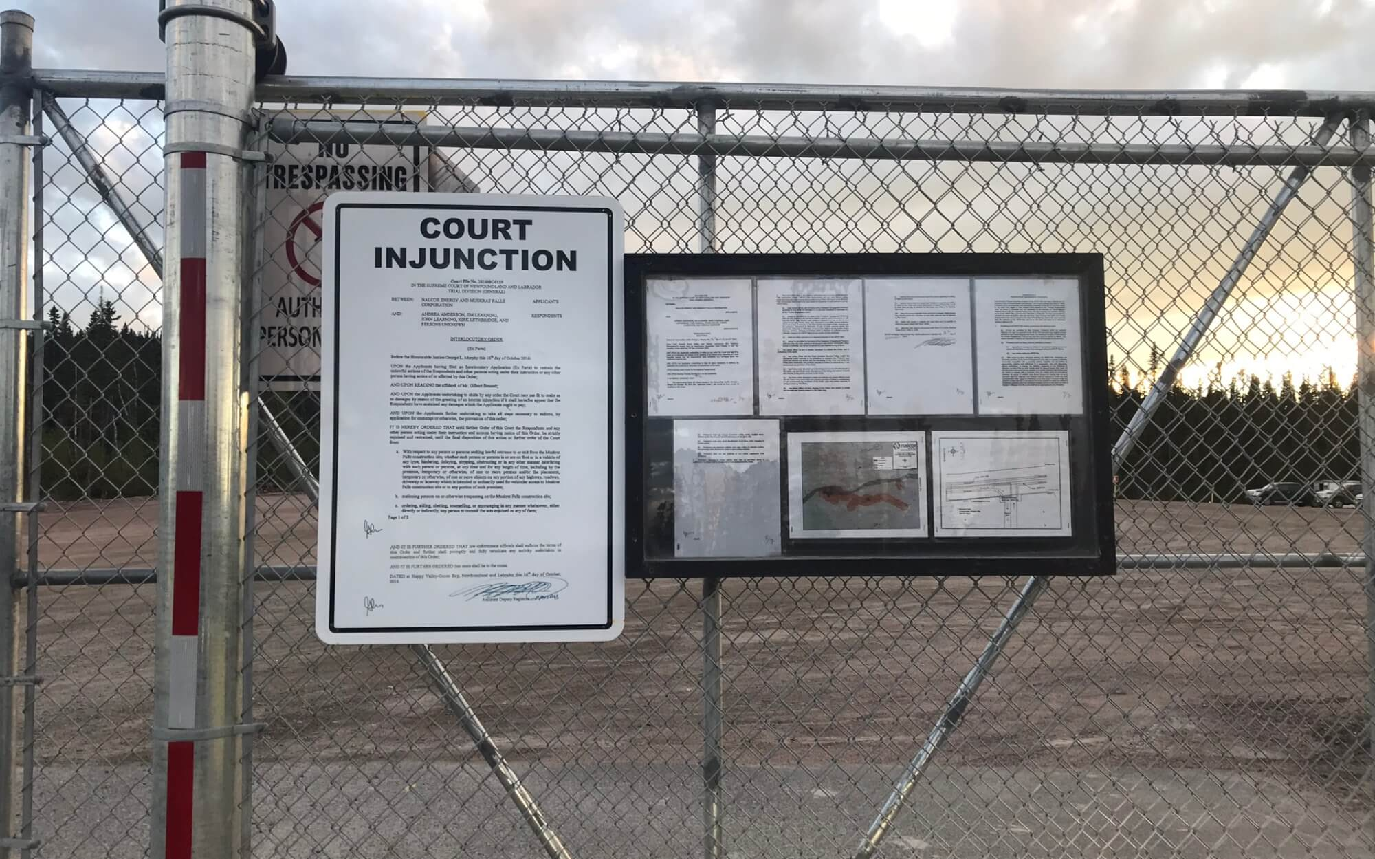 Court injunction displayed outside of the Muskrat Falls facility preventing several Land Protectors from entering the site