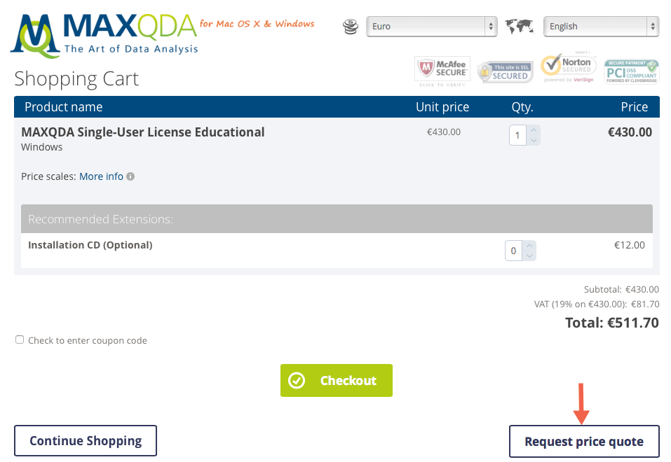 How to request a quote for your MAXQDA license