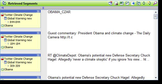Export of retrieved segments