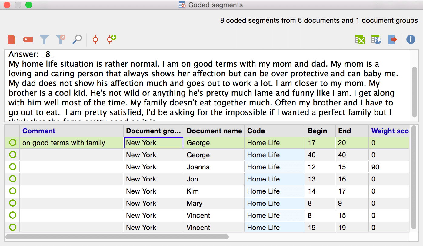 Comment on coded segments with MAXQDA