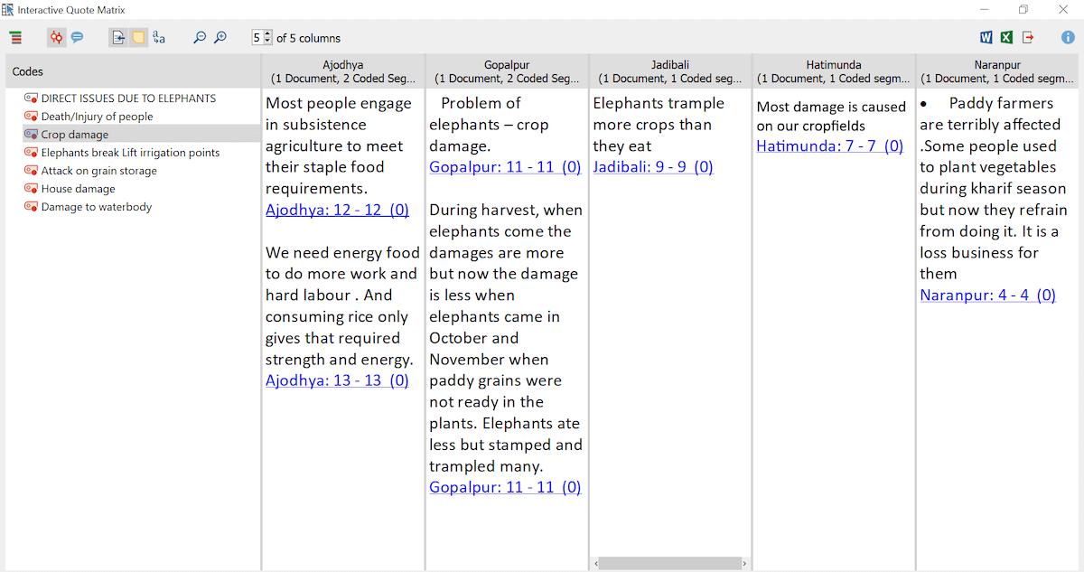 MAXQDA Interactive Quote Matrix
