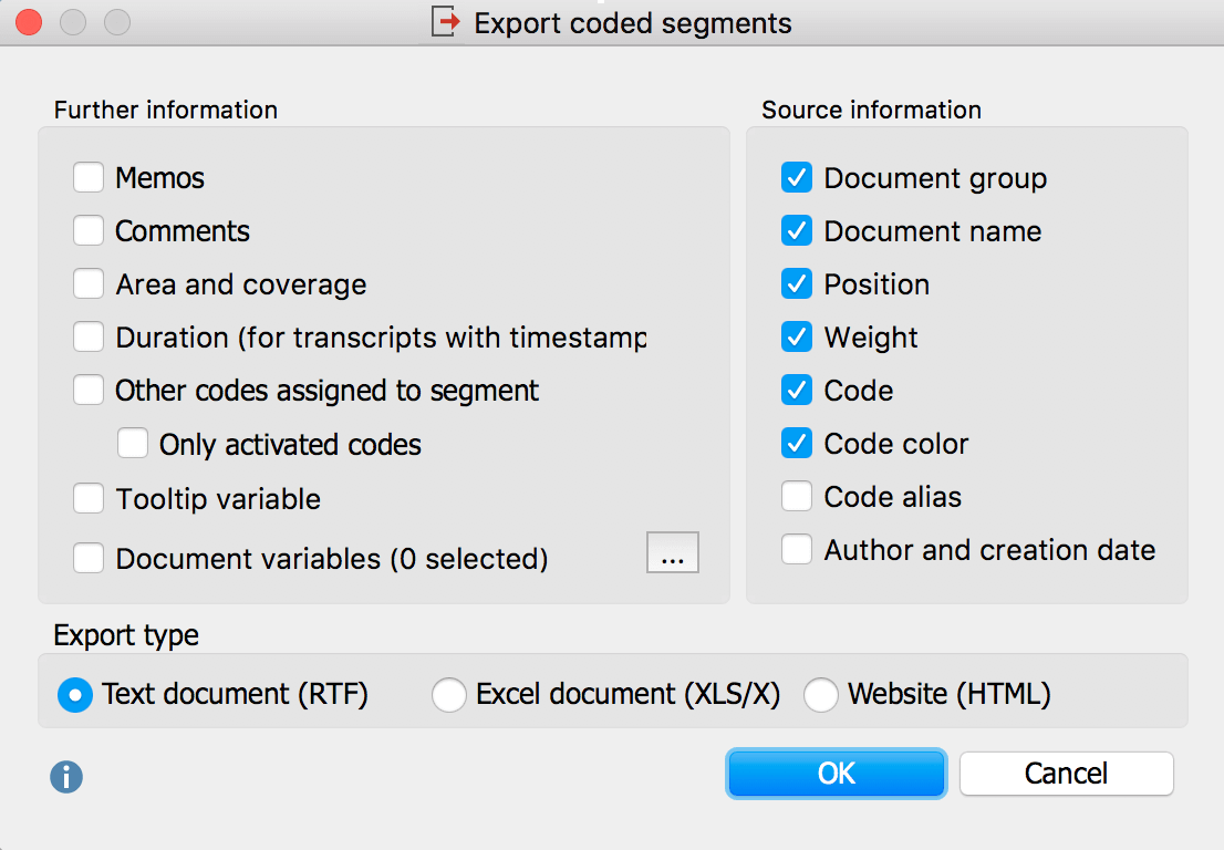 Options for the export of retrieved segments